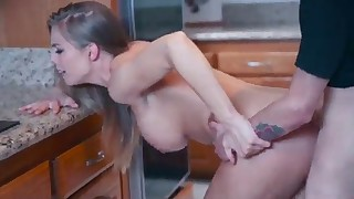 Fuck that hot MILF in the kitchen HD porn