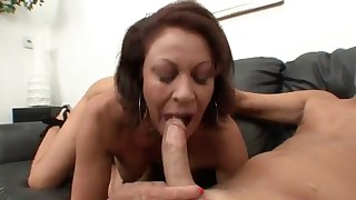 Seduced busty MILF likes dick riding and sucking