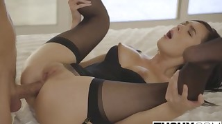 MILF in black lingerie opens her tight anal hole
