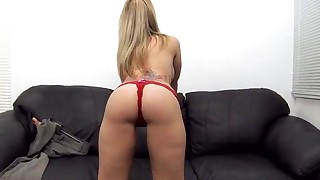 Busty MILF anal casting porn on the couch